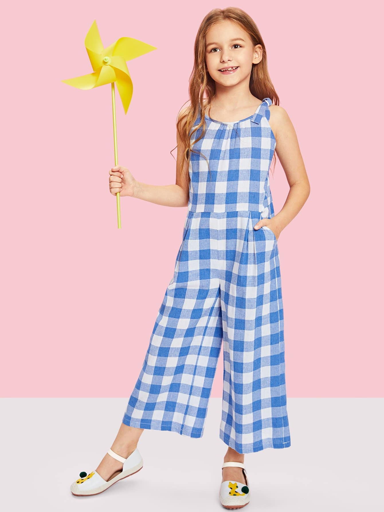 Girls Self Tie Shoulder Plaid Jumpsuit stylish dragon shaped alloy iron windproof gas lighter golden