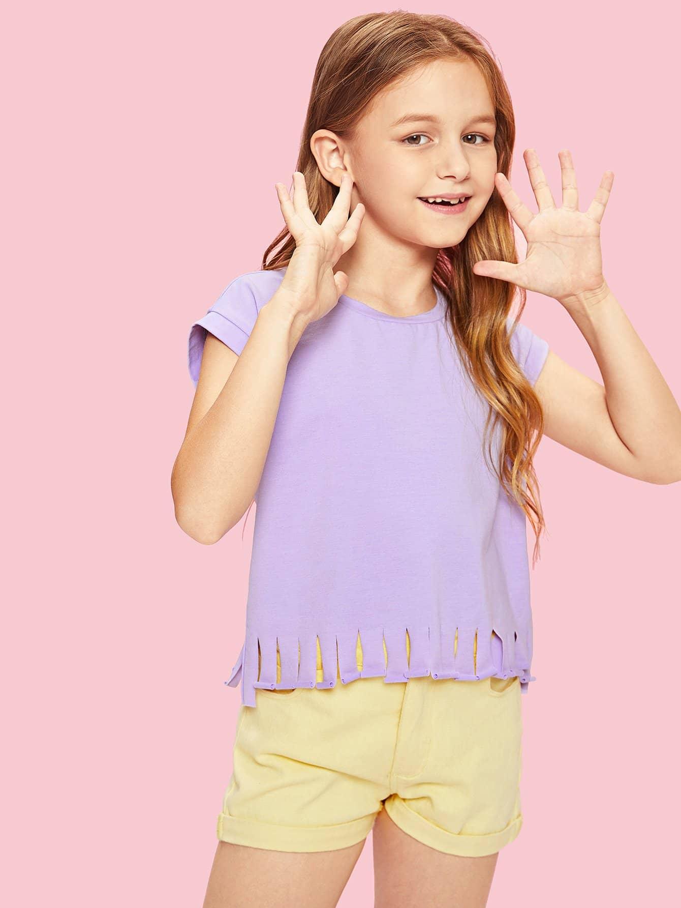 все цены на Girls Raw Cut Fringe Hem T-shirt