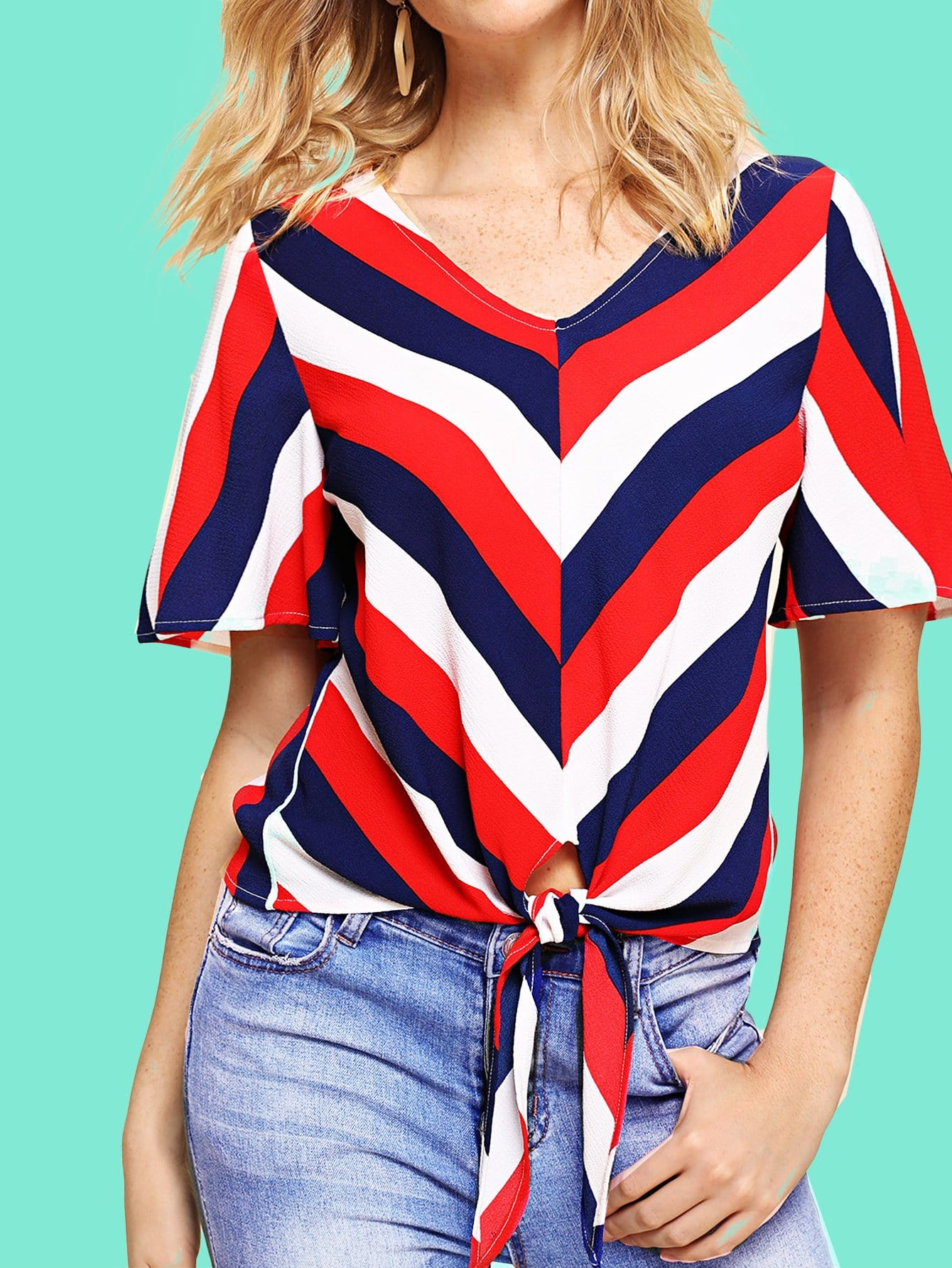 Knot Front Flutter Sleeve Striped Top knot front flutter sleeve striped top
