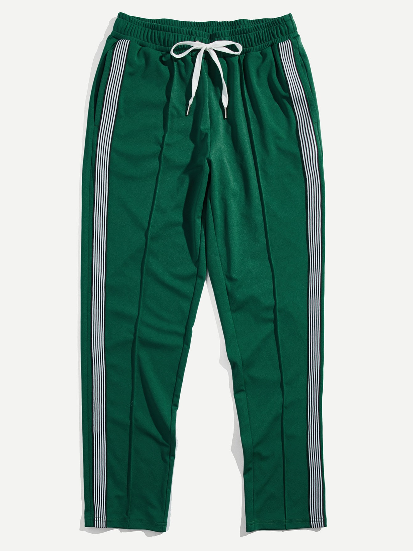 Men Striped Tape Side Drawstring Sweatpants men striped tape side drawstring shorts