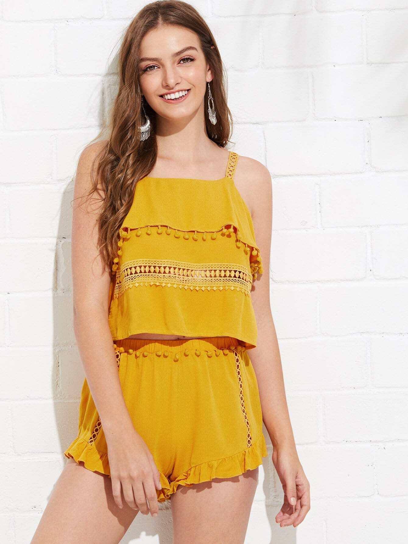 Lace and Pom Pom Detail Ruffle Top & Shorts Set pom pom trim aztec cami and shorts pajama set