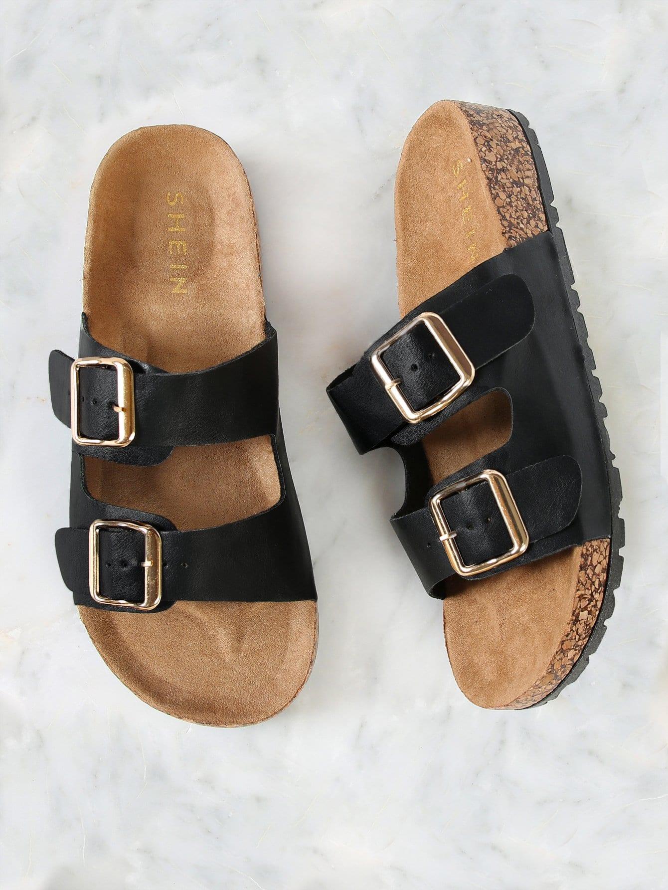 Купить Двойной пряжкой пробковые плоские сандалии, null, SheIn