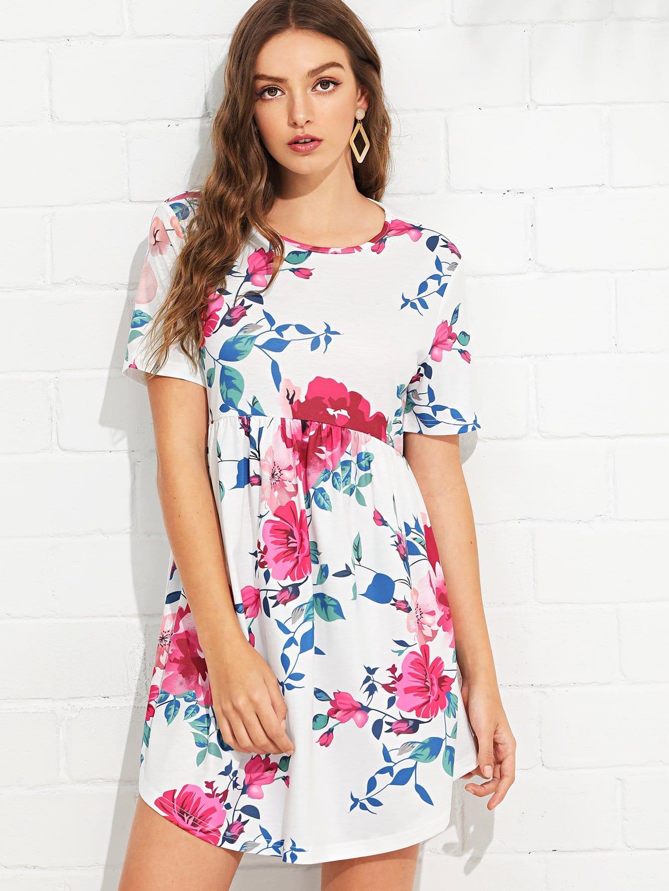 Botanical Print Curved Hem Smock Dress batwing sleeve pocket side curved hem textured dress