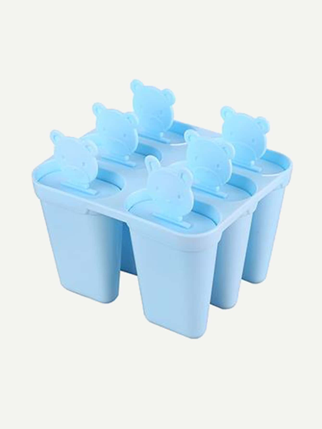 6 Compartment Popsicle Ice Mold With Stick diy plastic popsicle mold set white