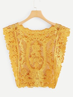 Eyelet Floral Embroidery Cover Up Blouse
