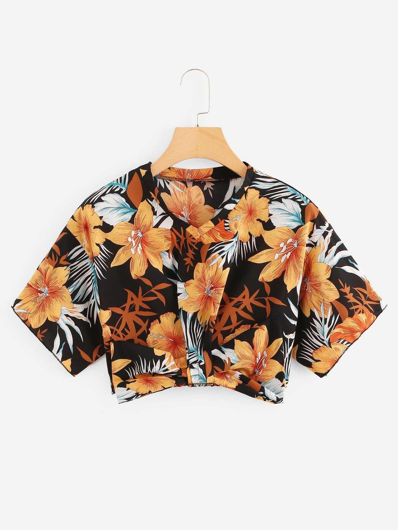 Tropical Print Bow Embellished Crop Top black choker sleeveless crop top