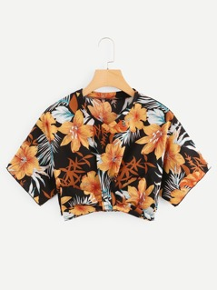 Tropical Print Bow Embellished Crop Top