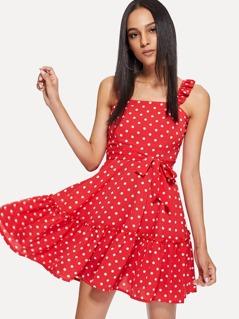 Ruffle Strap Belted Polka Dot Dress