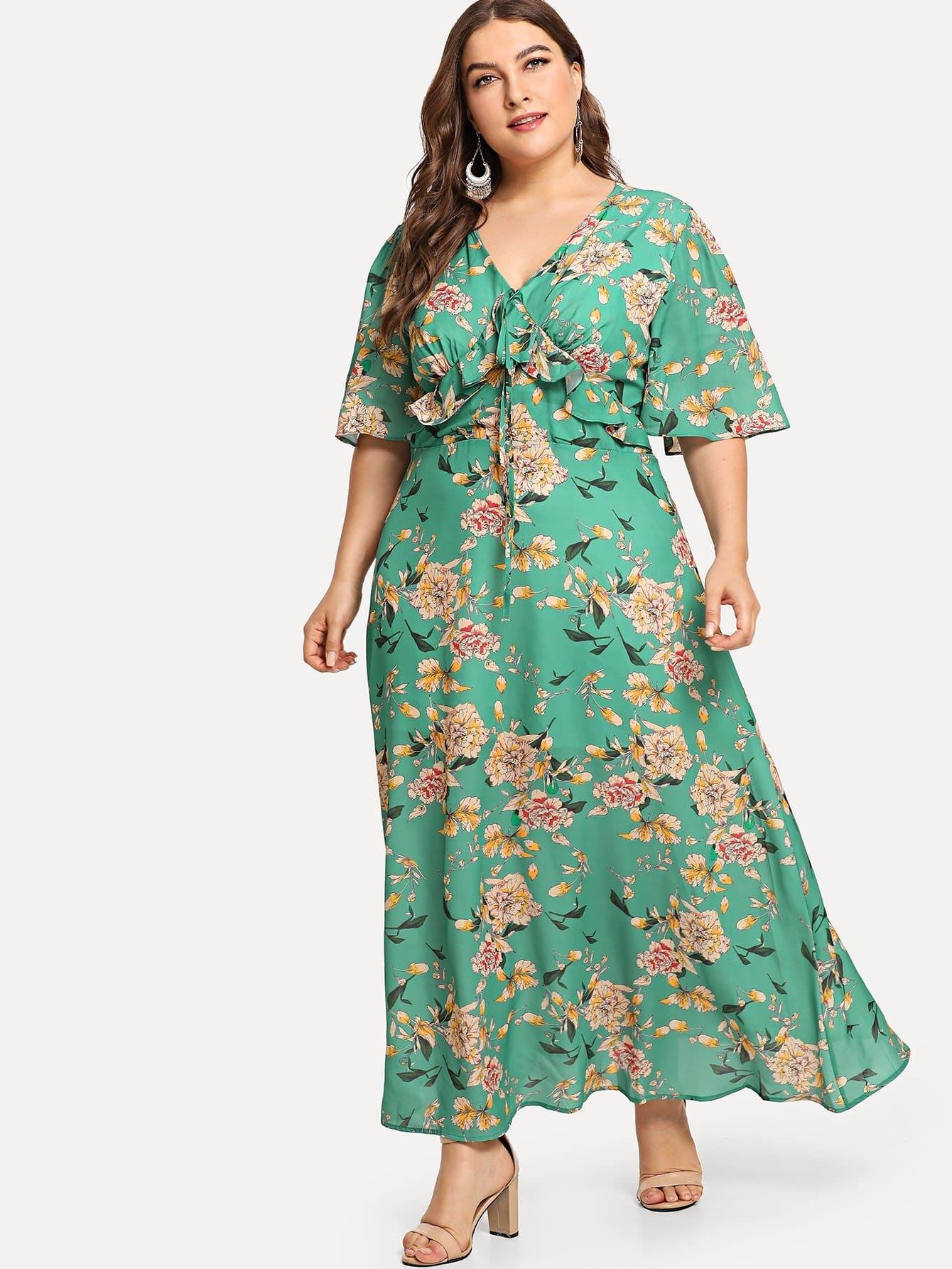 Купить Платье с принтом цветы с широкими рукавами, Franziska, SheIn