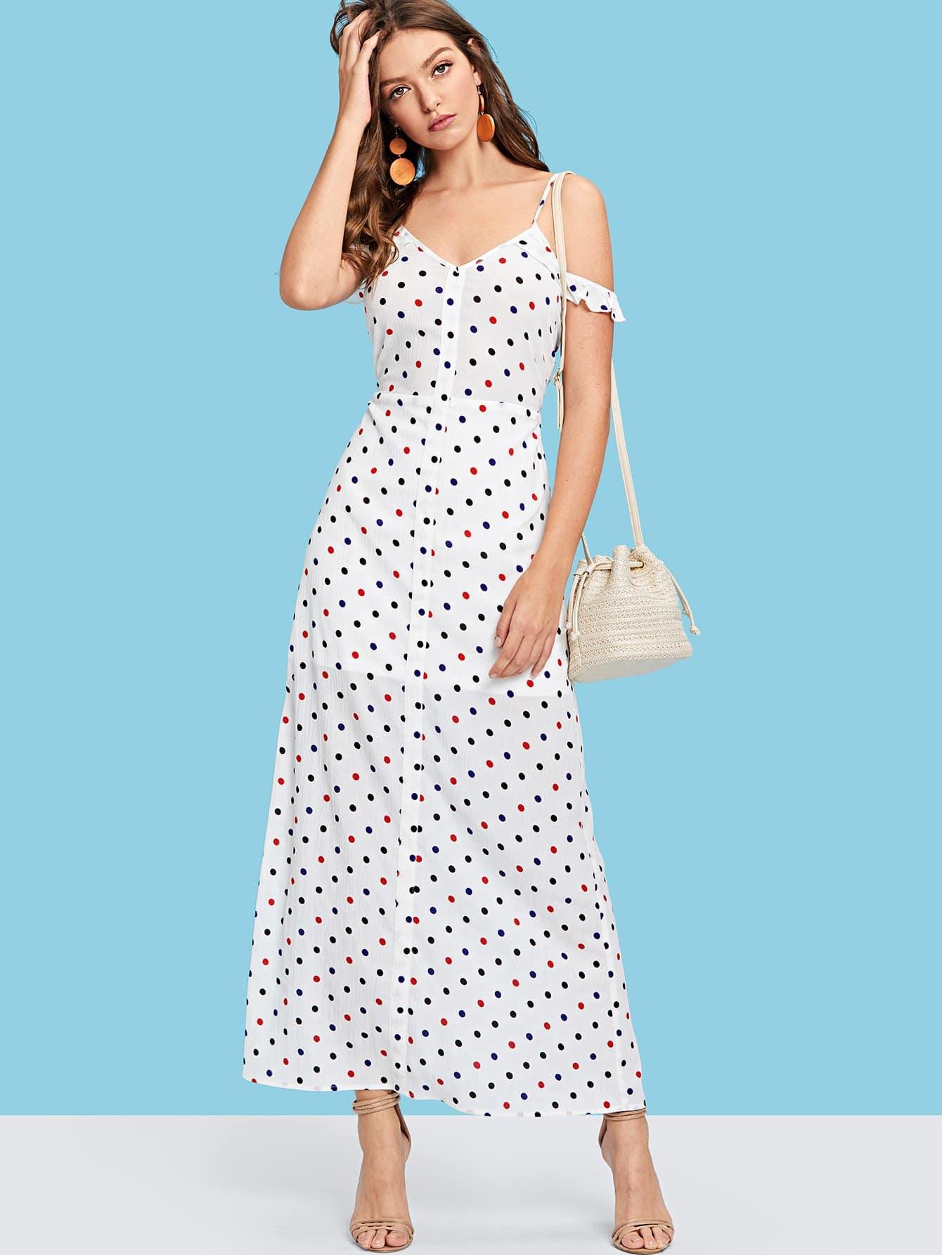 Polka Dot Ruffle Trim Cami Dress layered ruffle polka dot cami dress