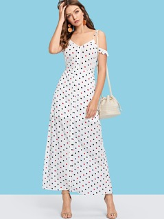 Polka Dot Ruffle Trim Cami Dress