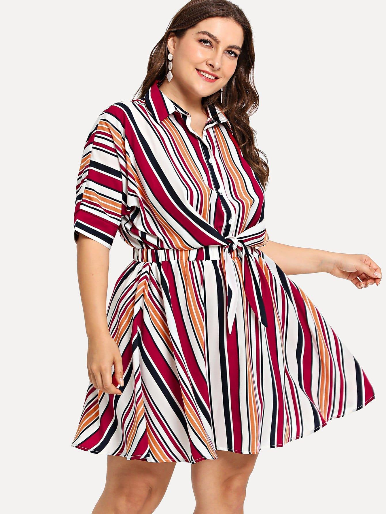 Plus Half Placket Tie Waist Striped Dress half placket striped smock shirt dress