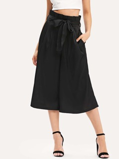Pleated Waist Culotte Pants with Belt