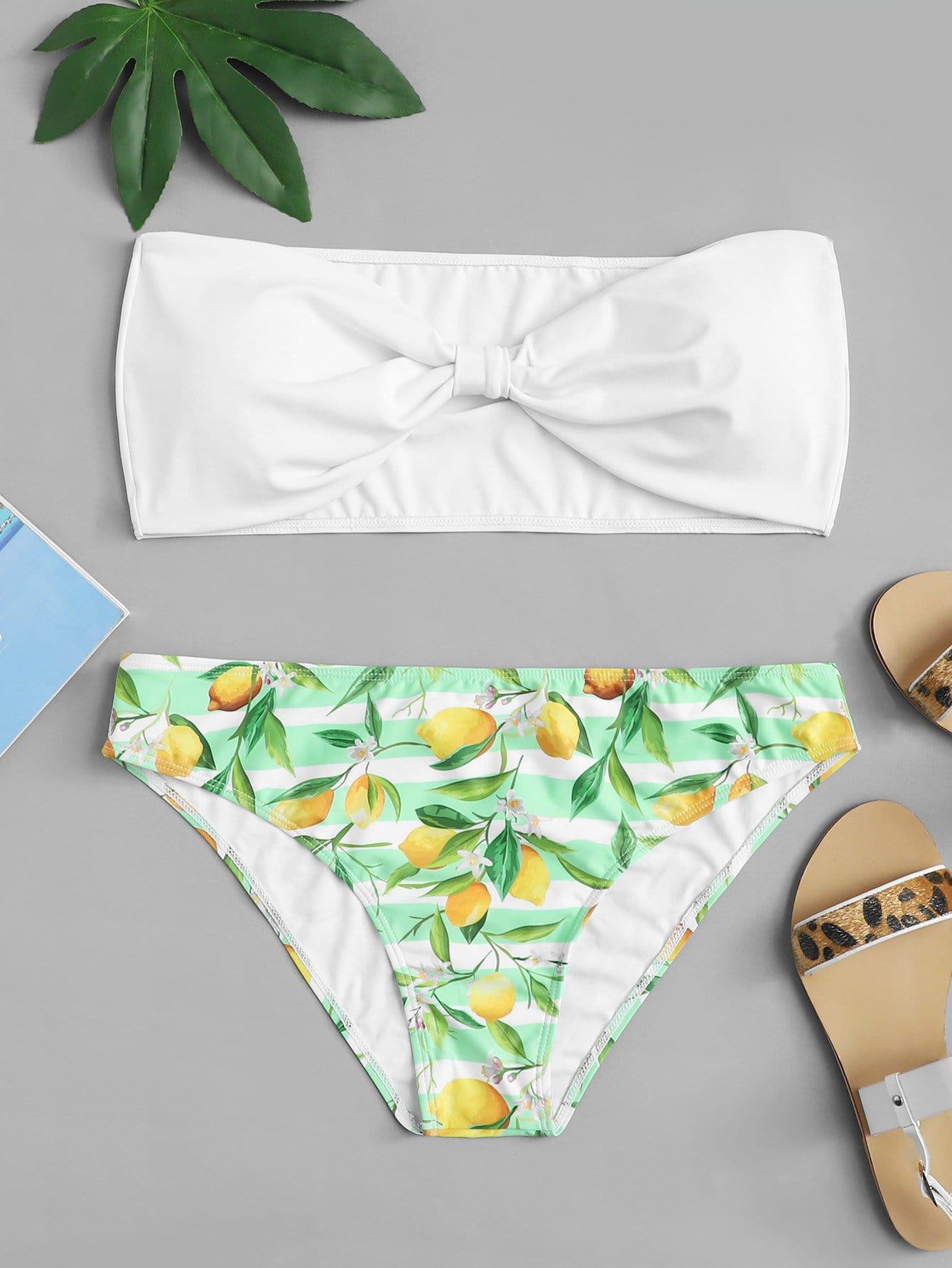 Купить Фруктовая печать Bandeau Bikini Set, null, SheIn