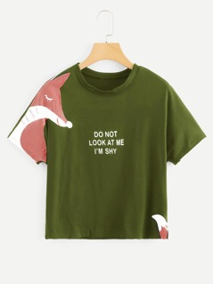 Fox And Letter Print Tee