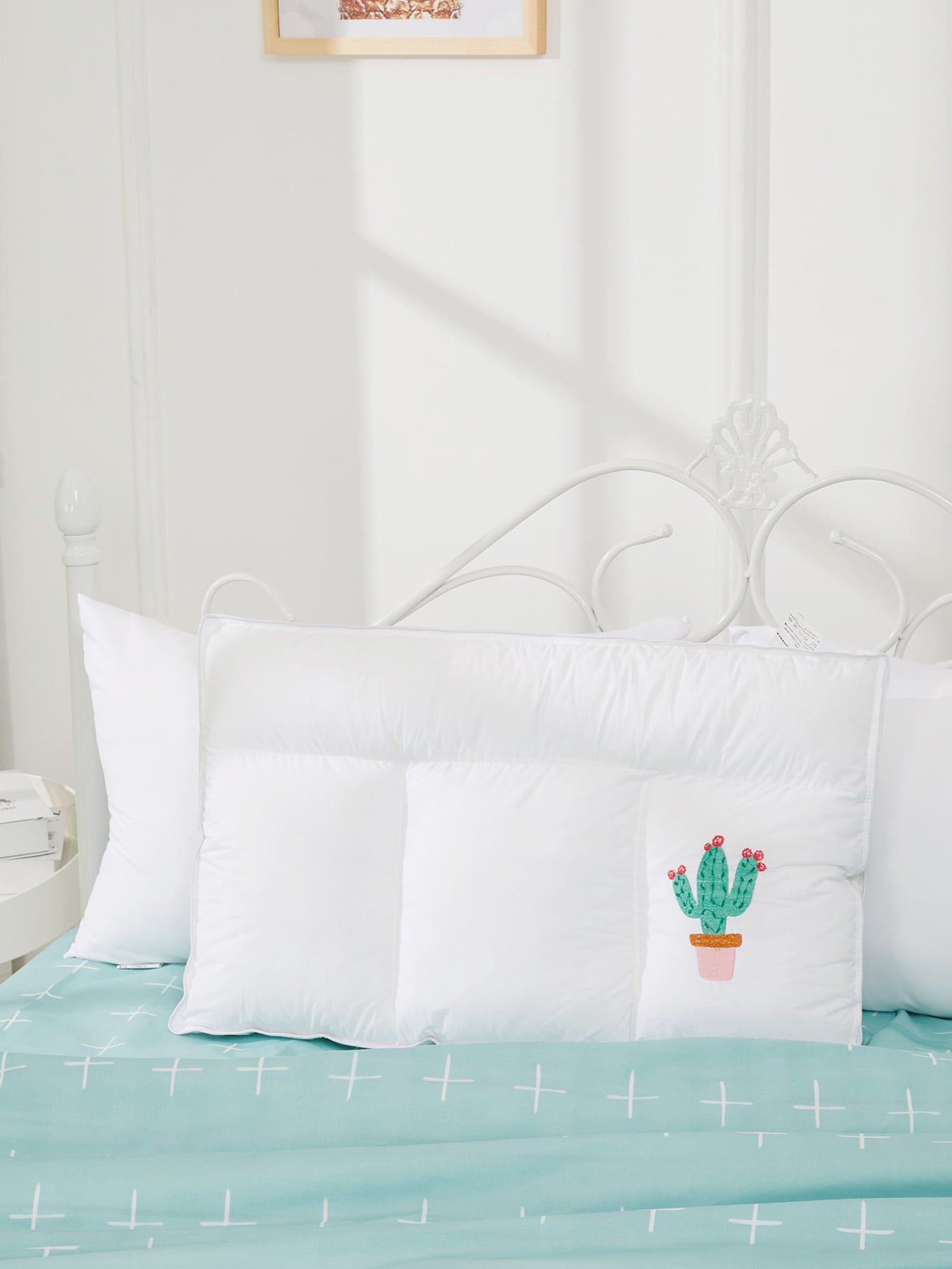 Cactus Embroidery Pillow 1Pc sailboat print pillow 1pc