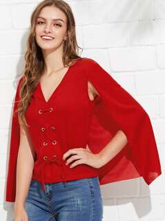 Cape Sleeve Lace Up V Neck Top