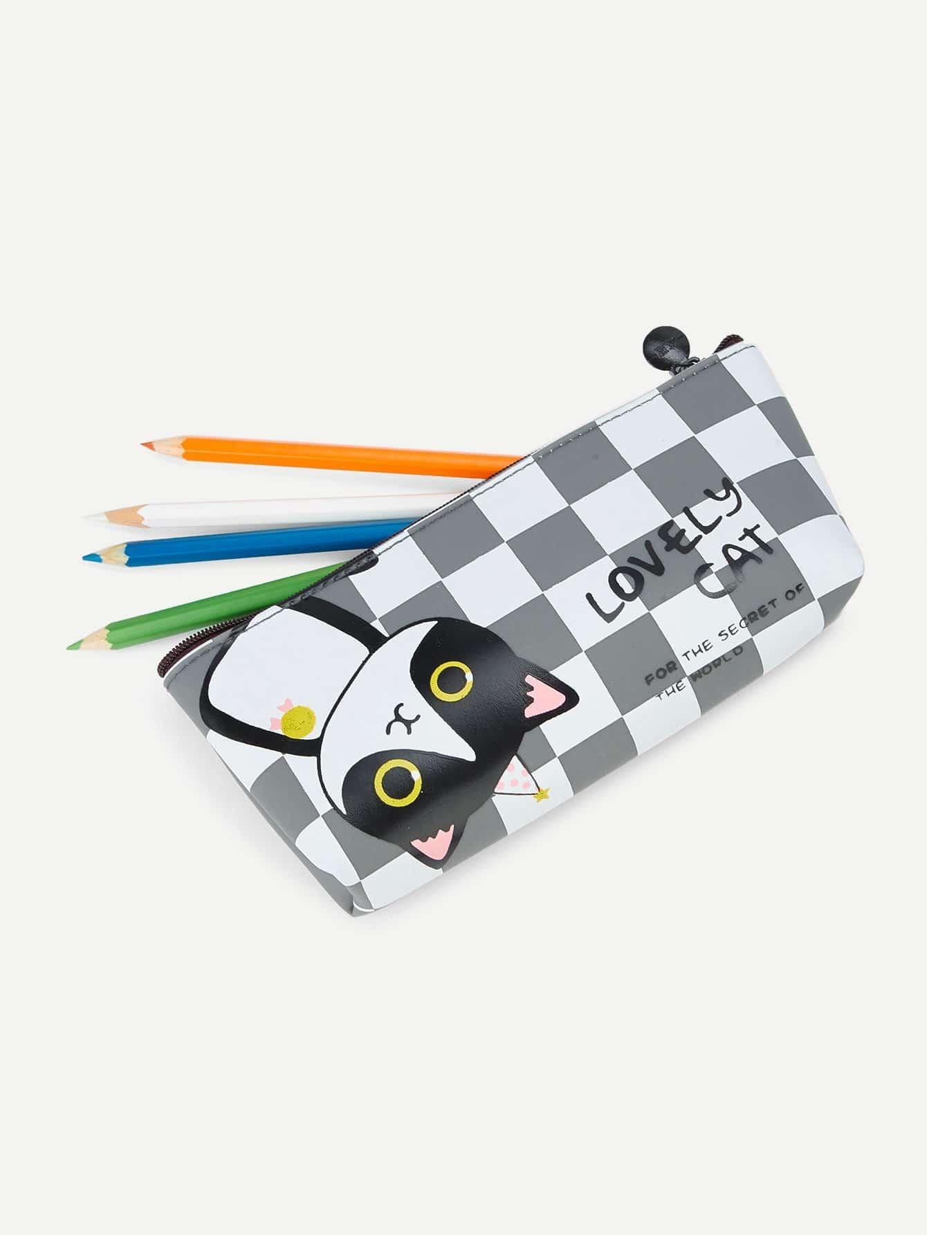 Cat Print Checker Pencil Case