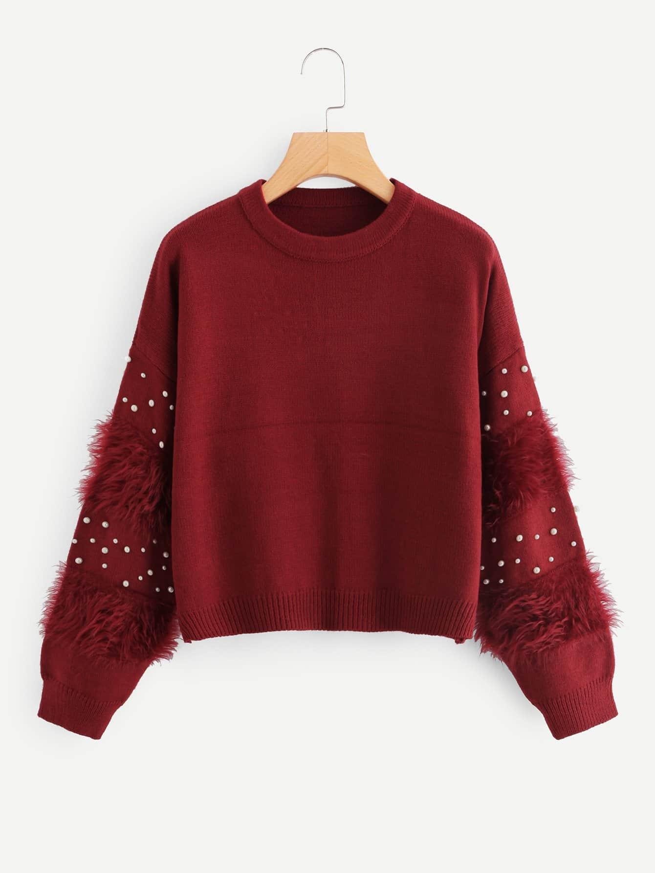 Купить Искусственный мех и перламутровый свитер, null, SheIn