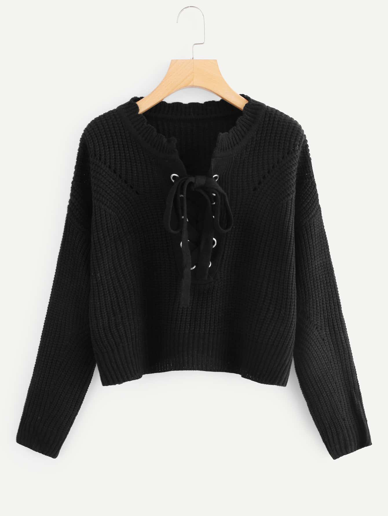 Grommet Lace Up Frilled Neck Sweater