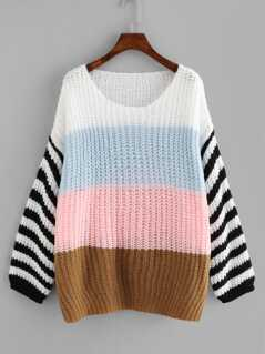 Color Block Loose Knit Oversized Jumper