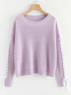 Eyelet Lace Up Sleeve Sweater