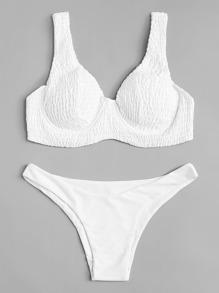 Shirred Plain Bikini Set