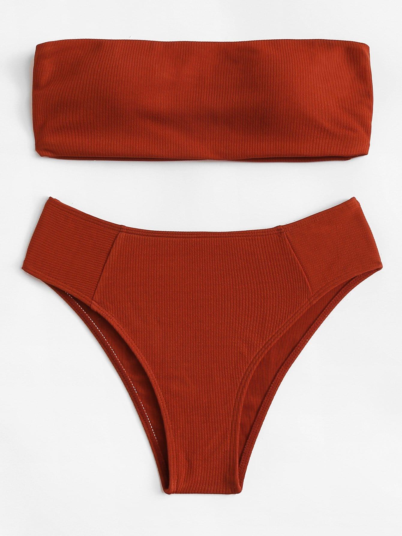 Купить Одноцветный Бикини Красный Купальник, null, SheIn