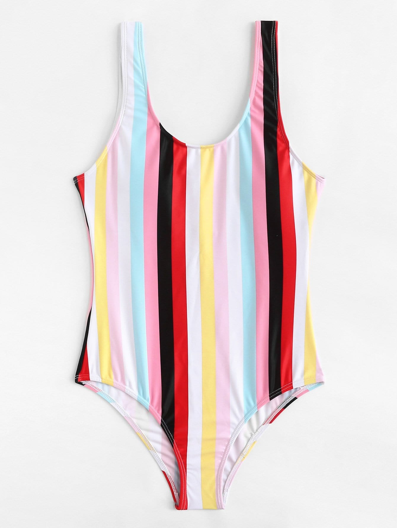 Color Block Striped Swimsuit
