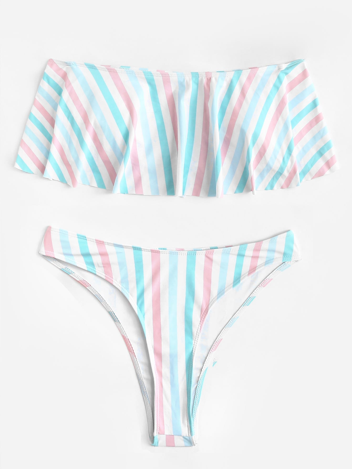 Plus Striped Flounce Bikini Set