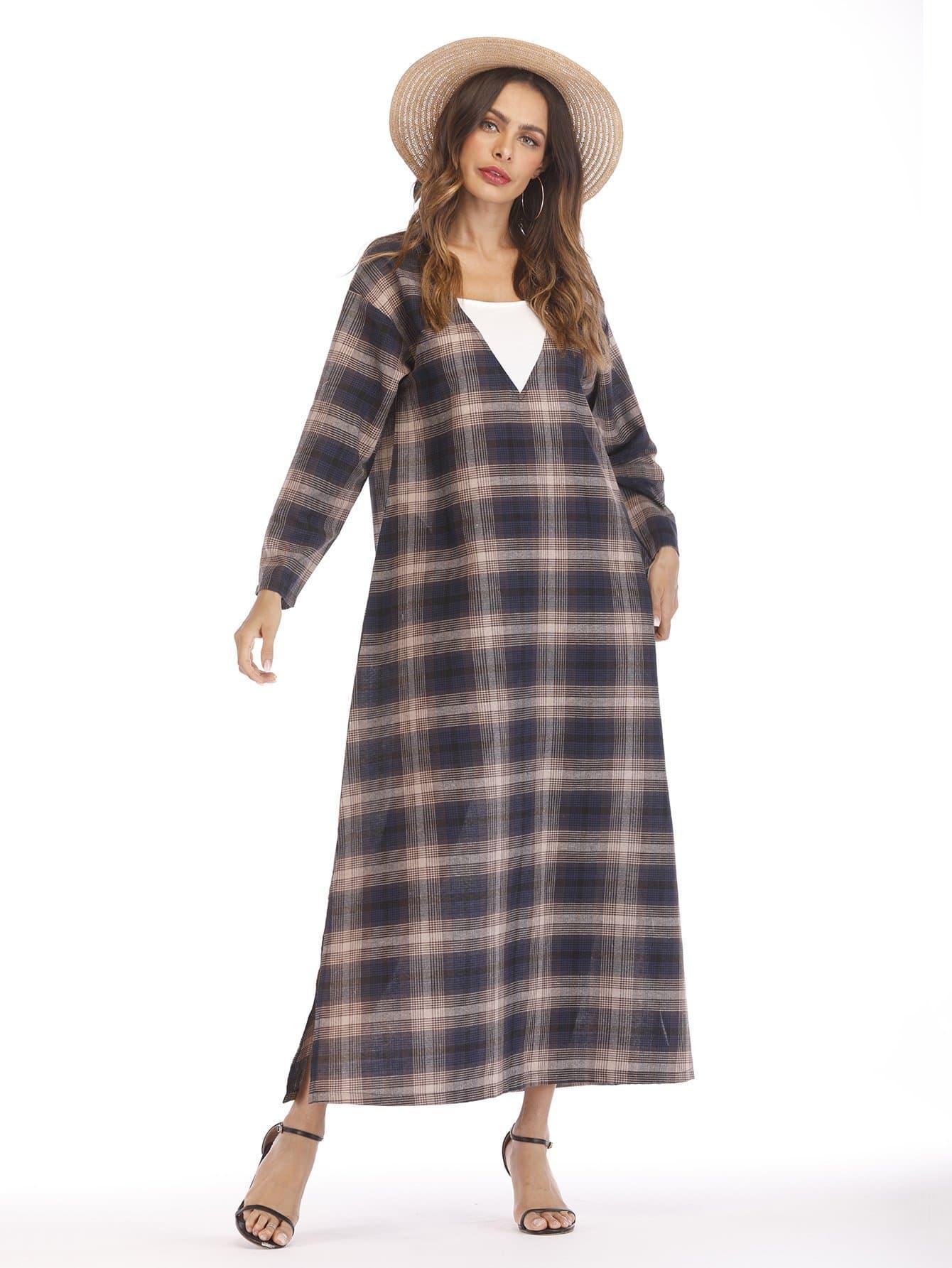 Tartan Plaid Split Side Longline Dress