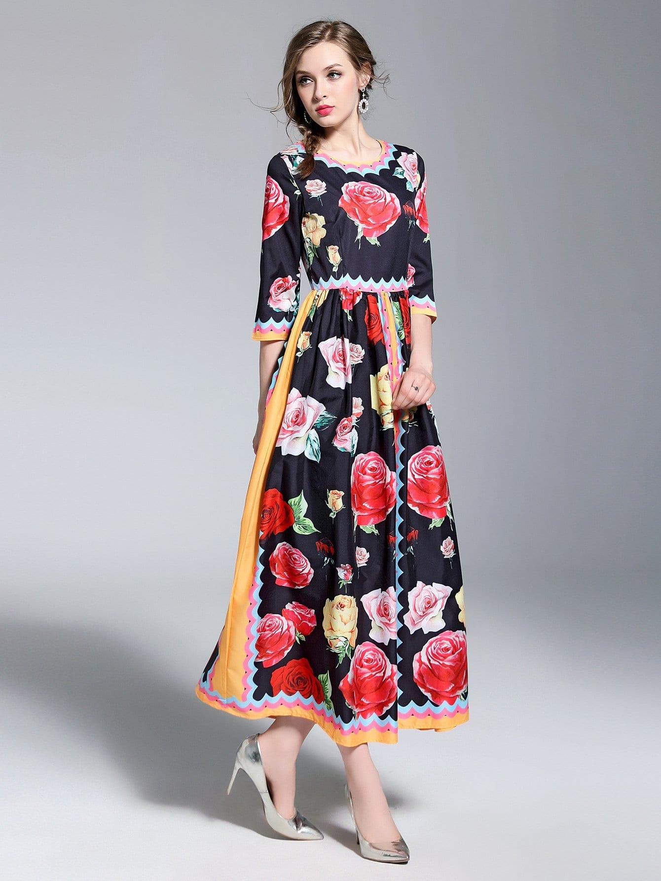 Купить Стиль кэжуал Цветочный принт многоцветный Платья, null, SheIn