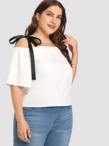 Plus Ribbon Tie Detail Top
