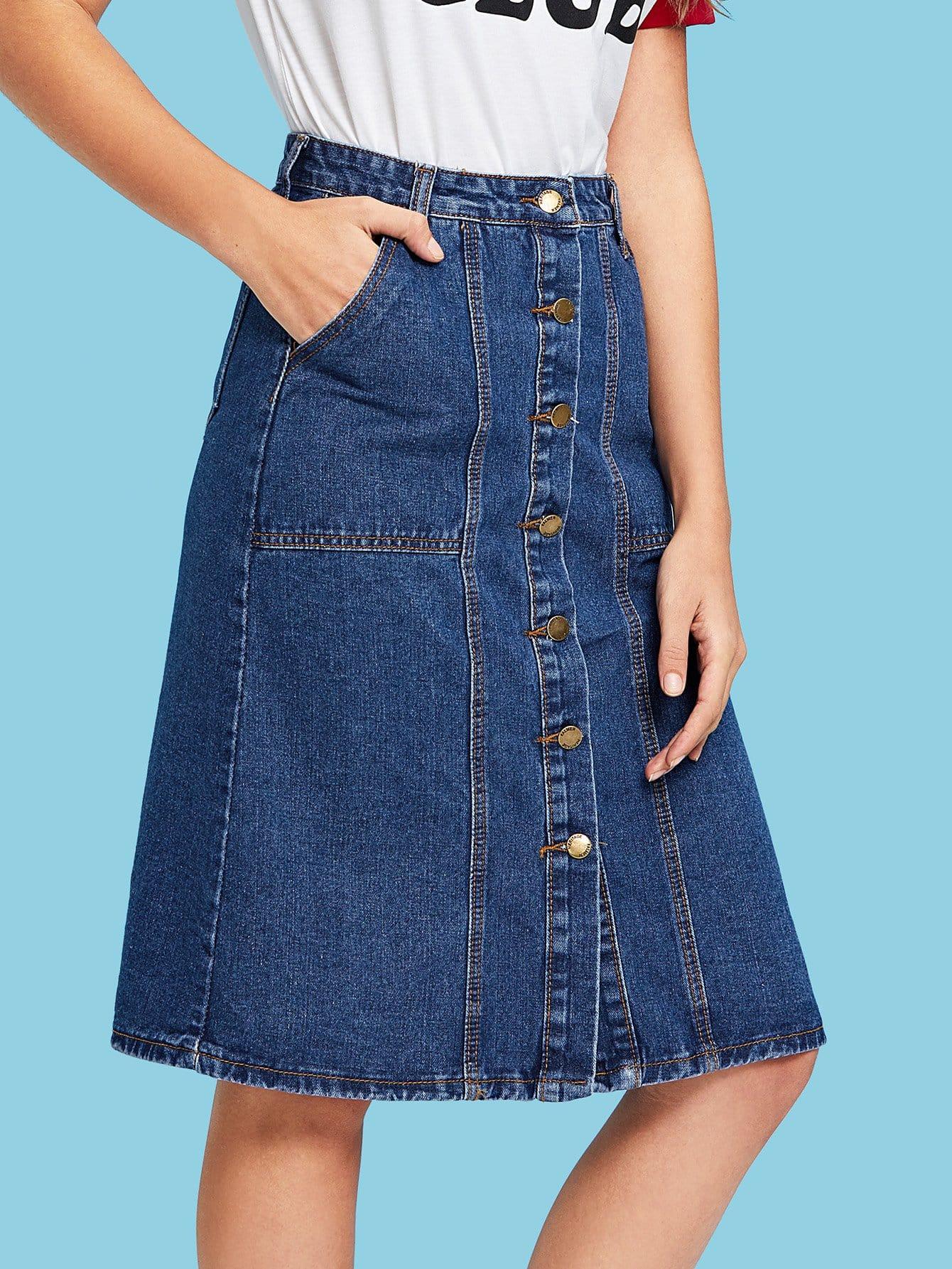 Stitch Detail Button Front Denim Skirt button front denim suspender skirt