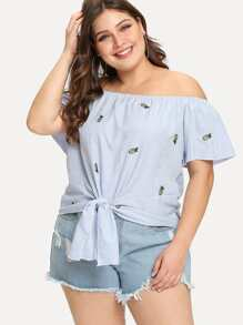 Plus Bardot Knot Hem Embroidered Top