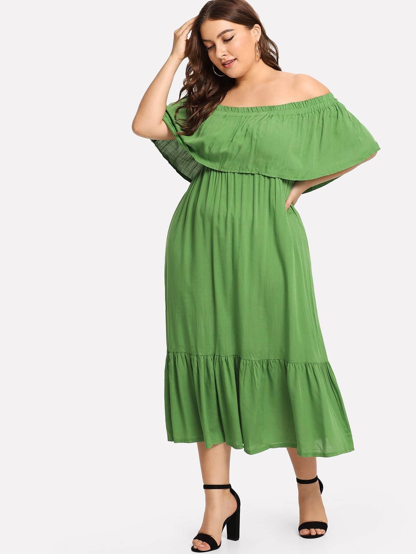Plus Flounce Layered Neckline Dress