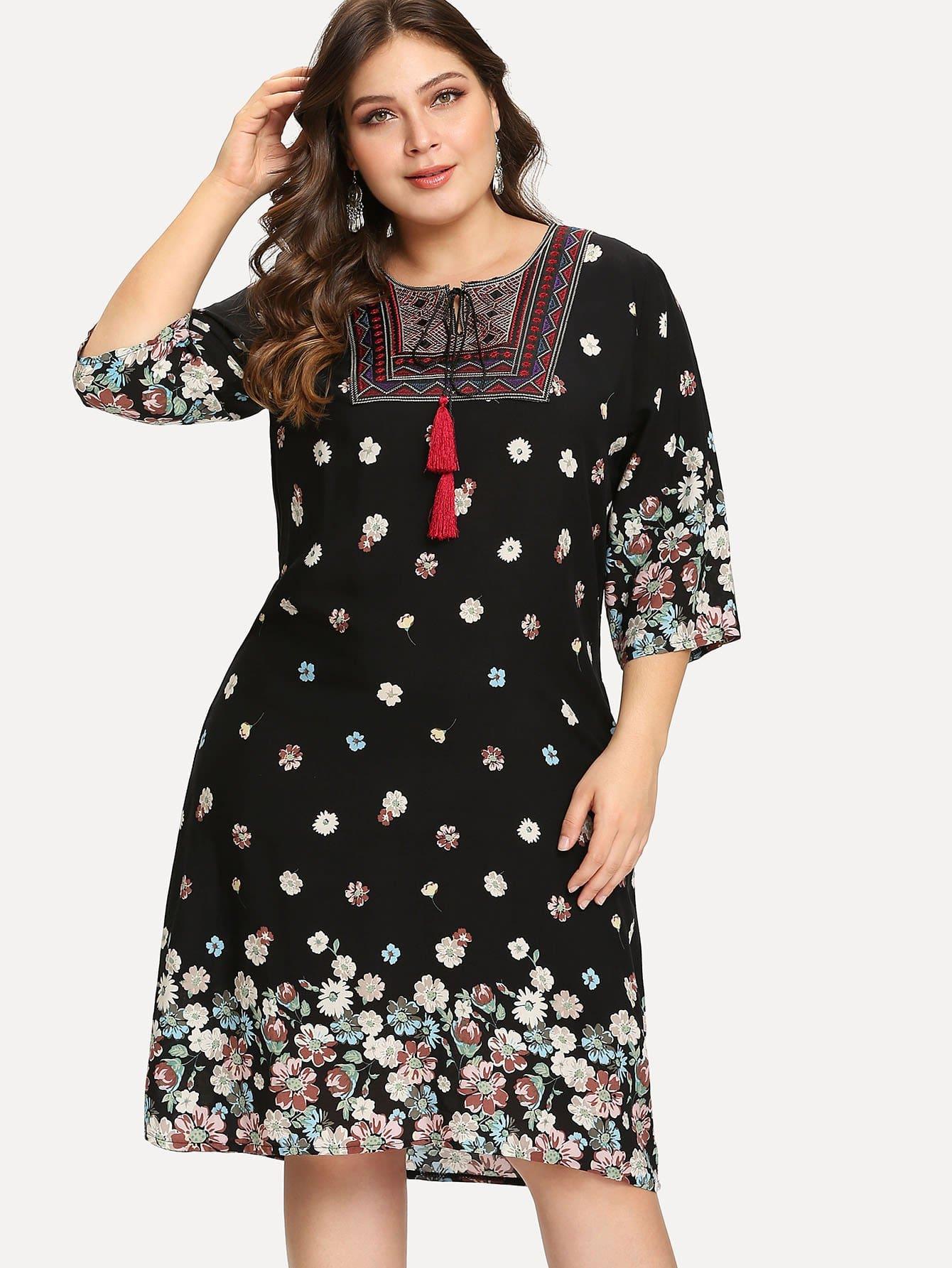 Plus Geo Embroidered Tassel Tie Florals Dress