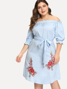 Plus Bardot Frill Trim Embroidery Belted Dress