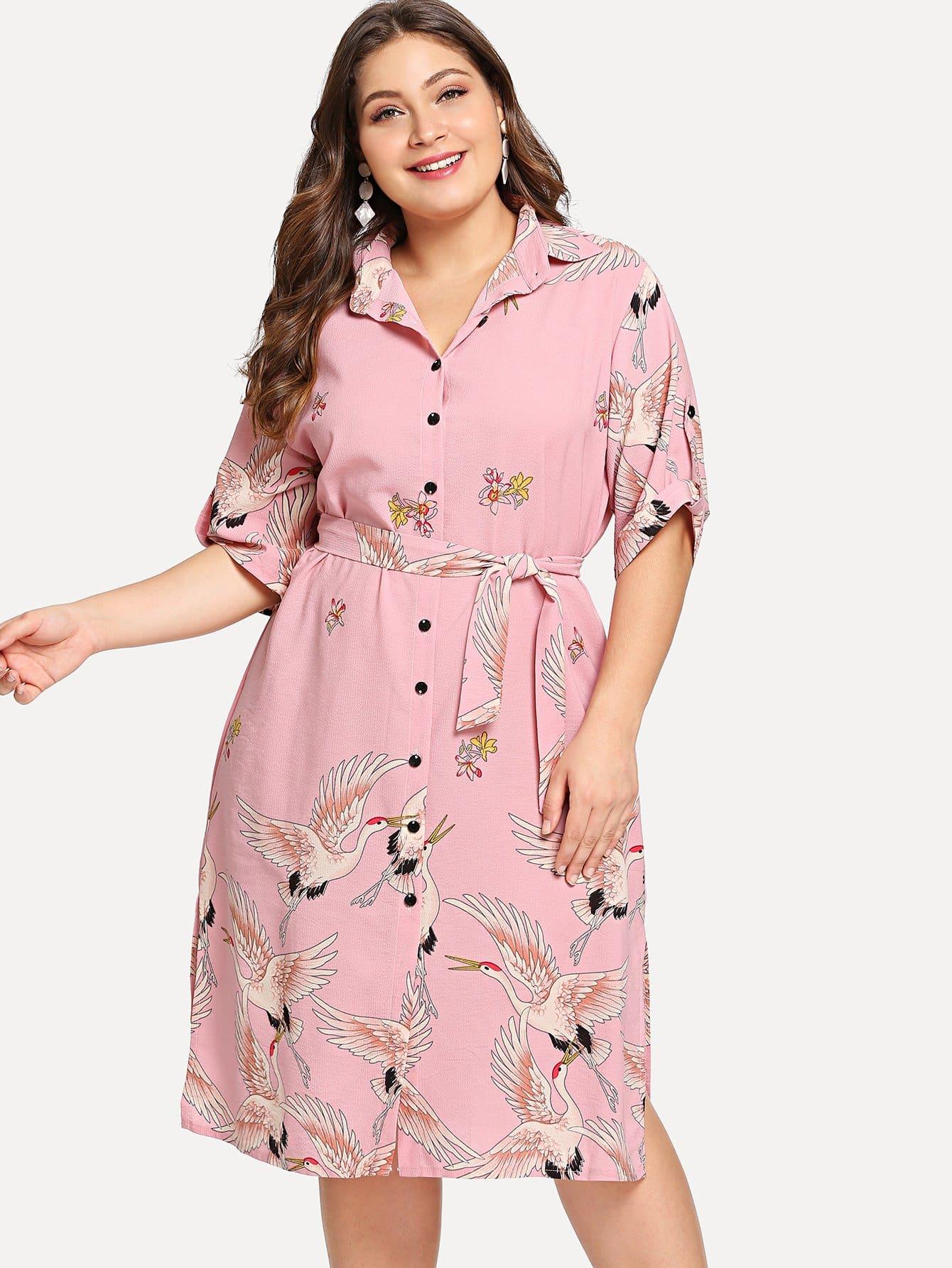 все цены на Plus Cranes Print Slit Side Shirt Dress онлайн