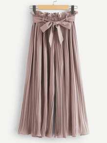 Ruffle Waist Belted Pleated Pants