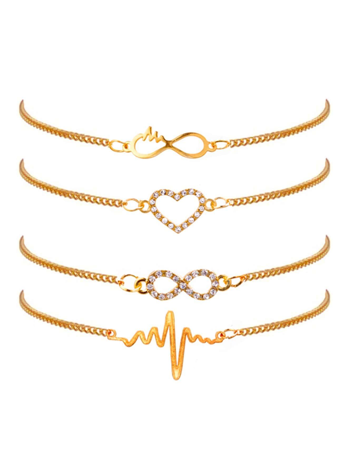 Infinity & Heat Chain Bracelet Set 4pcs