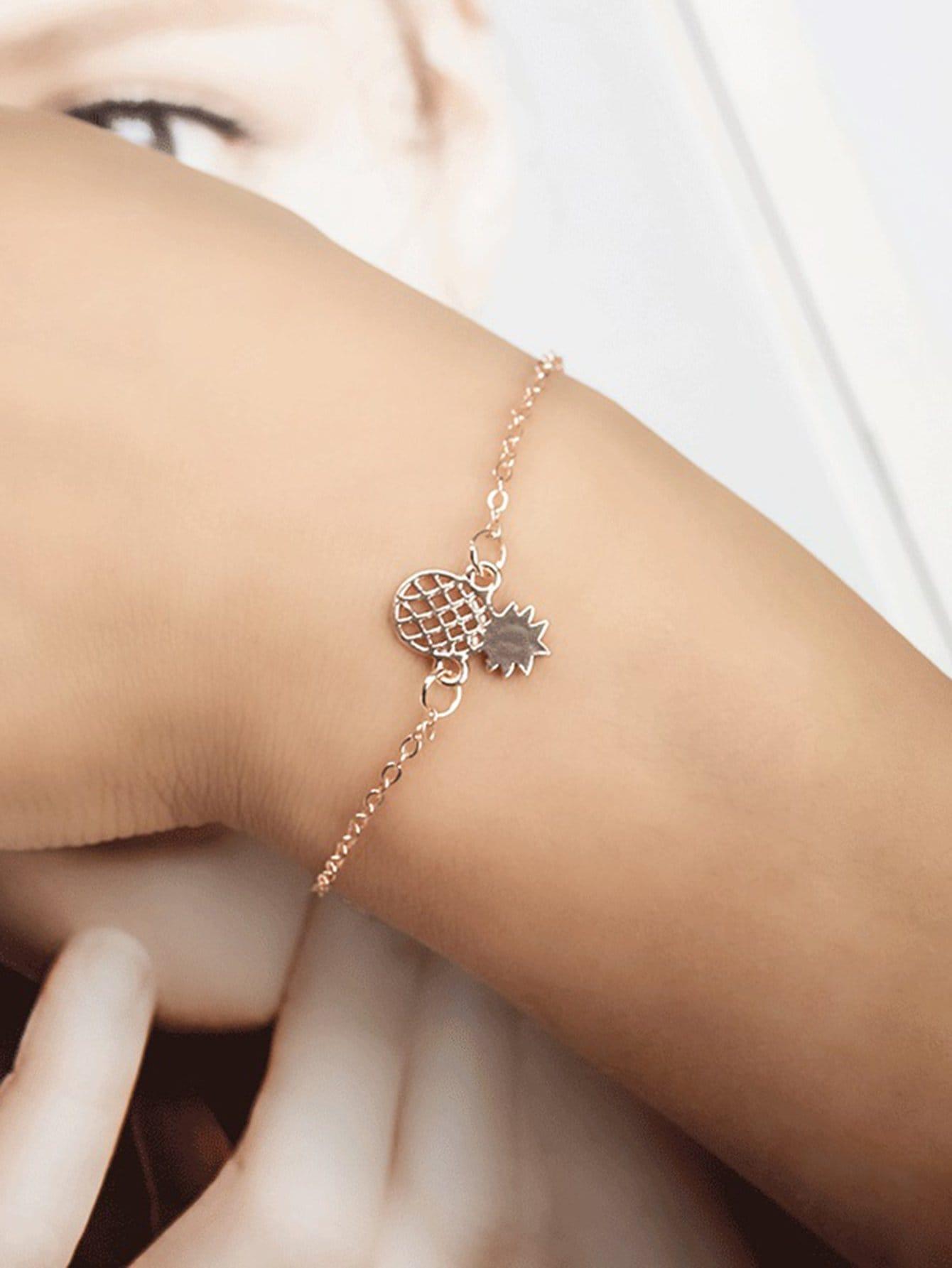 Kette Armband mit ausgehöhltem Ananas Anhänger