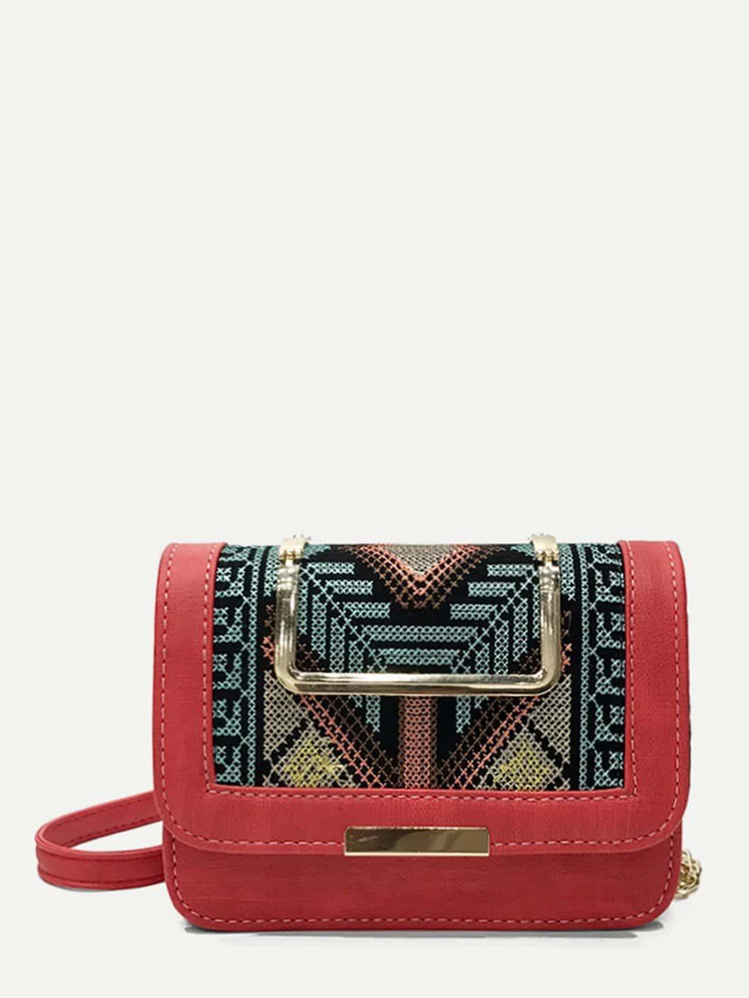 Stitch Trim Detail Embroidery Crossbody Bag