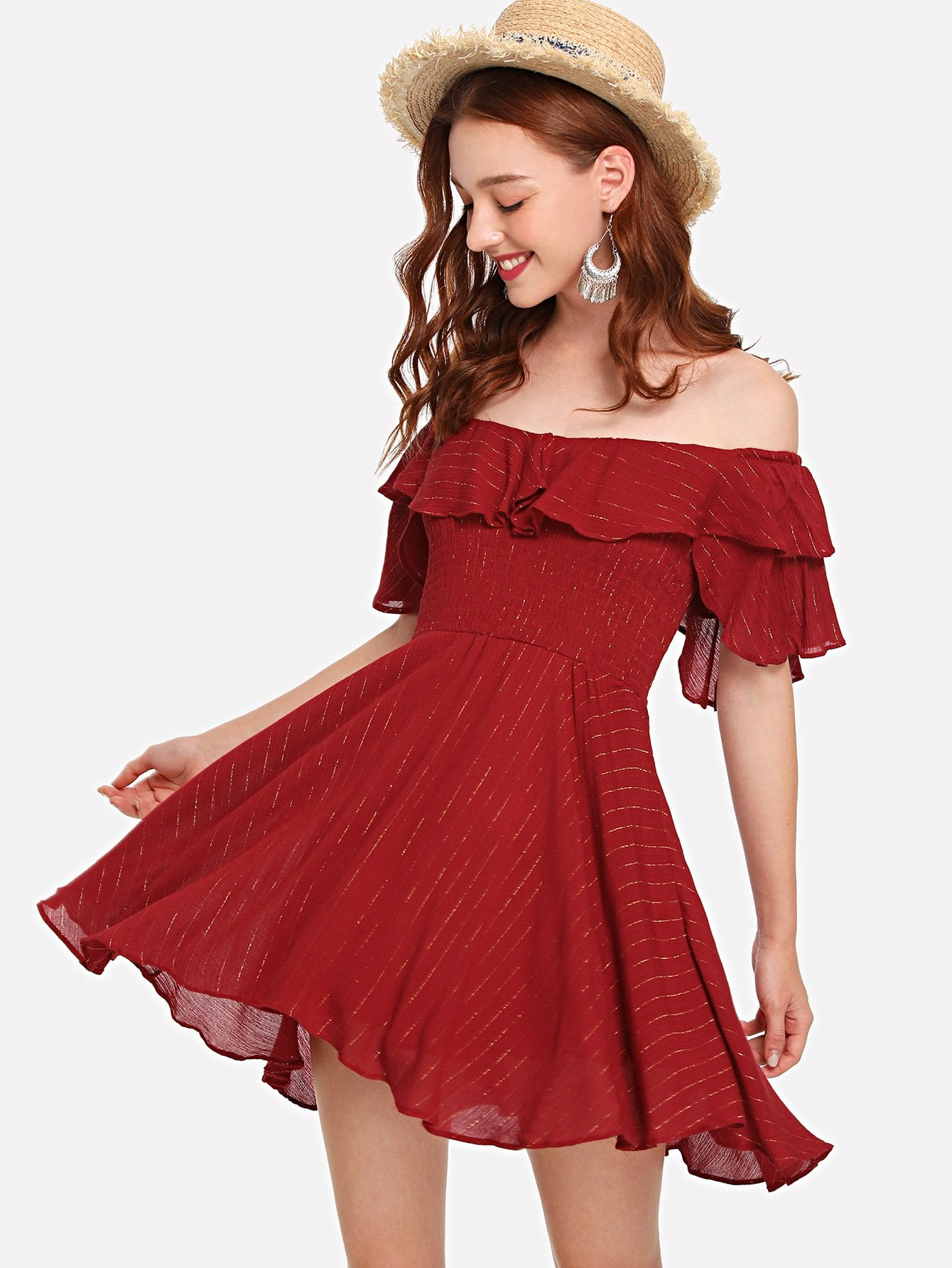 Bardot Ruffle Layered Skater Dress bardot ruffle layered skater dress