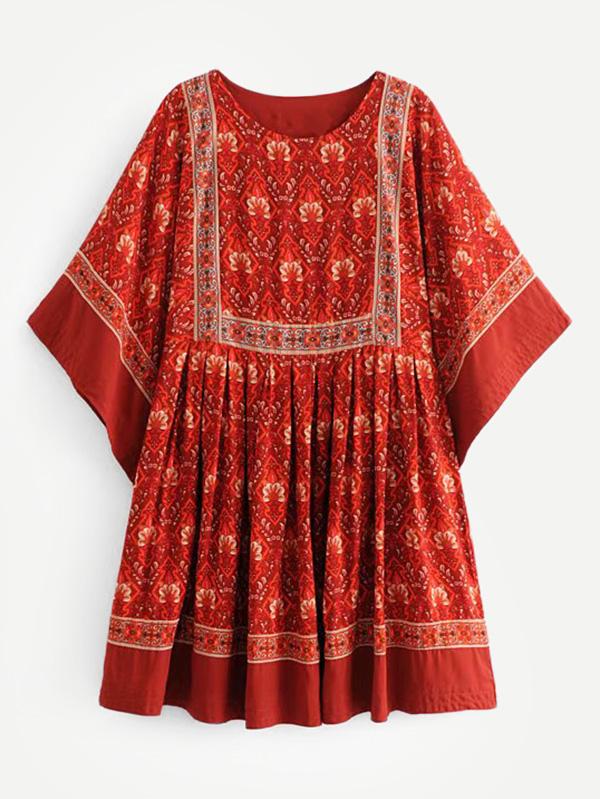 Купить Изысканная печать Babydoll Dress, null, SheIn