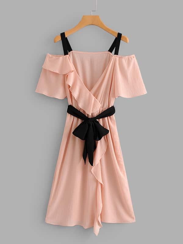 Ruffle Trim Surplice Neckline Belted Dress self belted solid ruffle trim dress