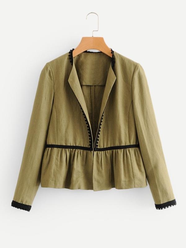 Contrast Lace Ruffle Hem Coat stand collar ruffle hem quilted coat