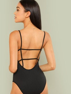 Strappy Open Back Rib Knit Bodysuit