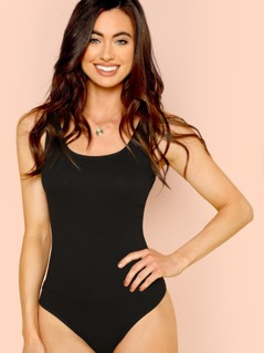 Scoop Neck Slim Fitted Bodysuit