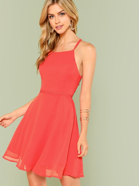 Open Back Halter Dress